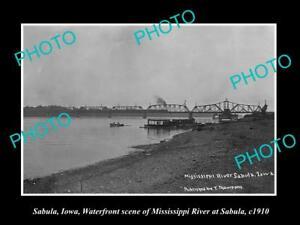 OLD-LARGE-HISTORIC-PHOTO-OF-SABULA-IOWA-THE-BRIDGE-amp-WATERFRONT-c1910
