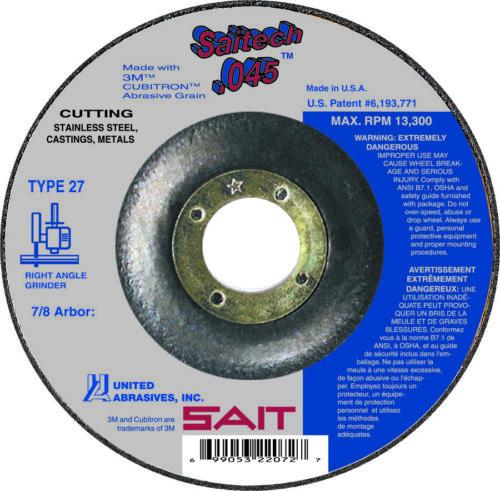 "42 Saitech 4-1//2/"" x 7//8/"" Arbor Flat .045 Cutting Wheels QTY 5 SAIT Type 27"