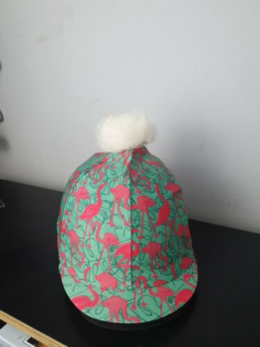 Flamingo Pink//green Hat Silk with white fluffy bobble one size fits all
