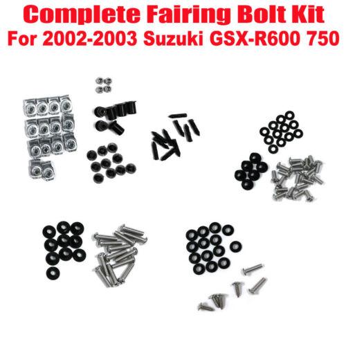 Complete Fairing Bolt Kit Body Screws Nuts Set For Suzuki GSX-R600 750 2002 2003