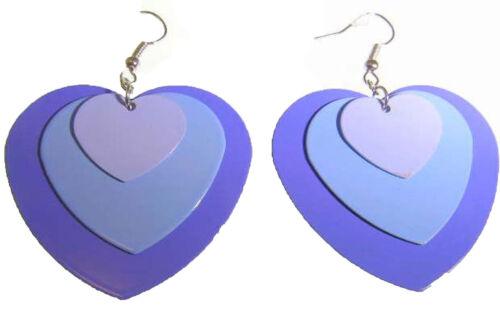 Nuevo Ombre Púrpura Esmalte Triple Capa grandes pendientes de corazón
