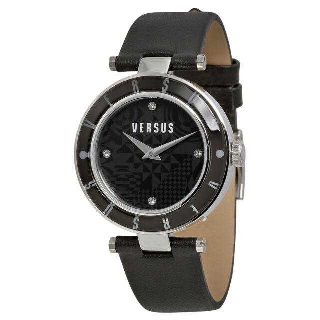 Versus by Versace Logo Black Geometric Dial Black Leather Ladies Watch SP8050014