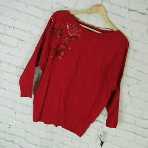 Alfani-Sweater-Womens-Medium-M-Red-Sequin-Dolman-Sleeve-MRSP-69