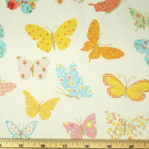 100/% Cotton Poplin Fabric Fabric Freed Pretty Pastel Floral Butterflies Flying