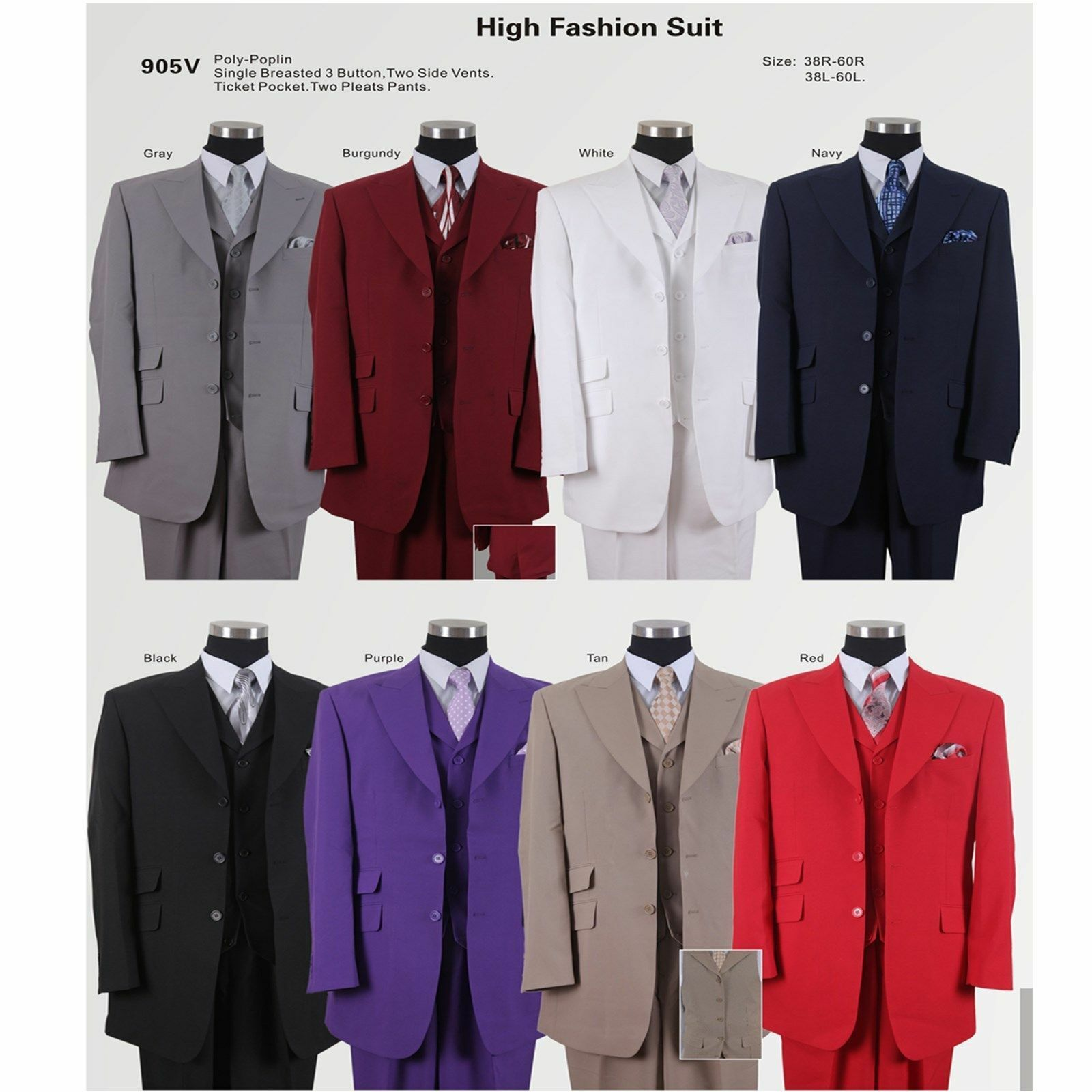 New Men's 3 Button Fashion Suit with Collared Vest,w Pleated Pants 8 colors 905V