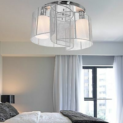 Fabric Crystal Chrome Chandelier Ceiling Lamp Pendant Light Fixture Lighting US