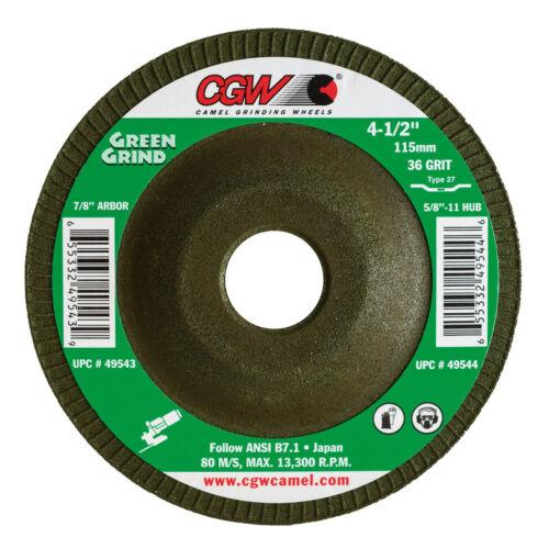 "CGW Green Grind 4-1//2/"" X 5//32/"" X 7//8/"" Depressed Center Grinding Wheel Disc"