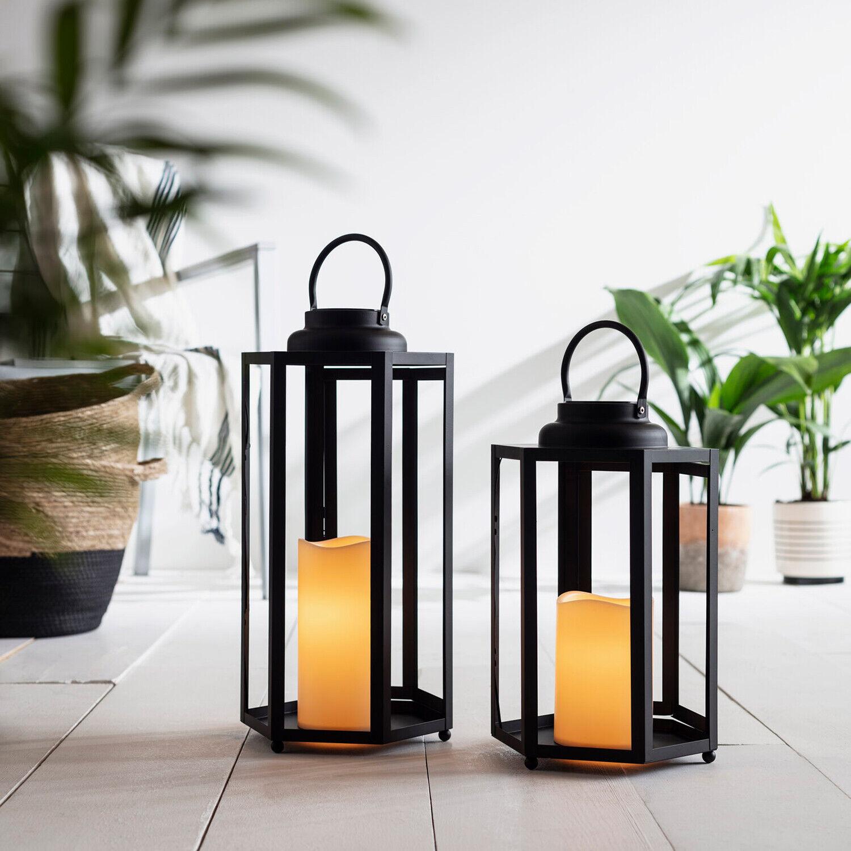 Negros Metal LED Solar Faroles Im Set o Individualmente Barras de Lámpara