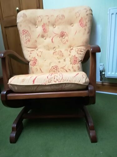2 wing back rocking chair wood frame material goldJacquard fabric buttoned back