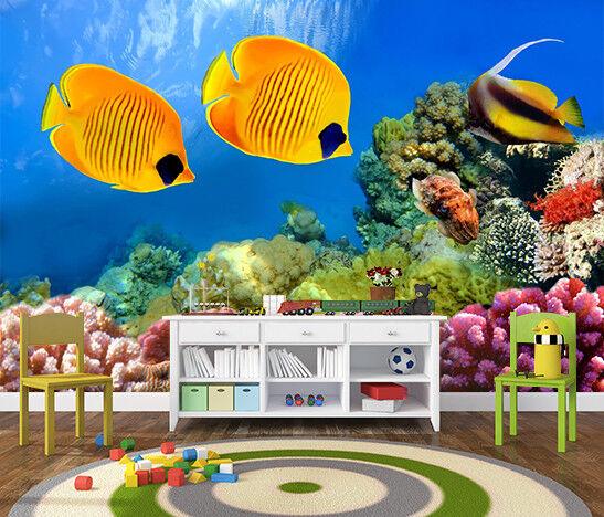 3D Golden Fish Coral 7 Wall Paper Murals Wall Print Wall Wallpaper Mural AU Kyra