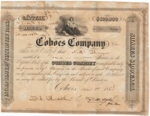 Cohoes-Company-1-share-of-Stock-100-April-1st-1850-Nathaniel-Thayer-Bonds