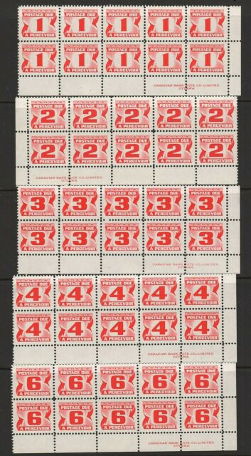 CANADA - 1967  POSTAGE DUE IMPRINT BLOCKS TO 16  (D32-D41)    -    N/H/MINT