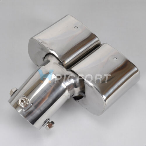 /<5.8cm Universal CURVED Exhaust Tailpipe Tail Pipe Rear Muffler End Trim Chrome