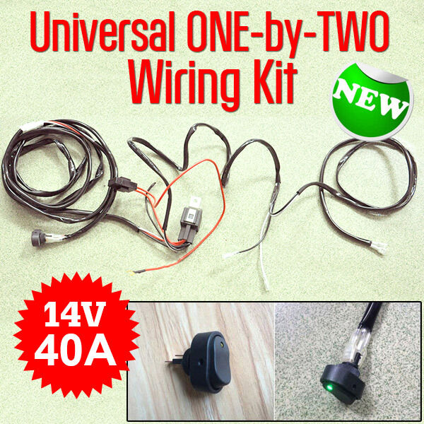 NEW Universal ONE-by-TWO Wiring Kit 14V 40A Switch Relay for LED Light Bar