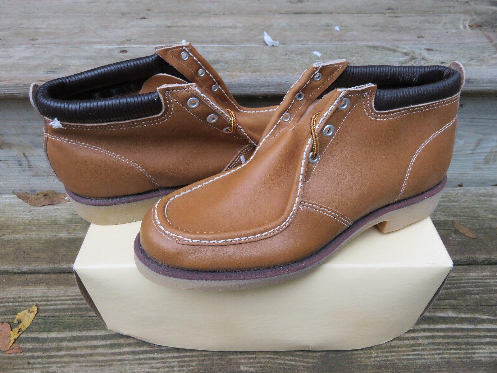 prodotti creativi Vintage Tan Nail-Less Leather All Purpose Uomo Uomo Uomo Casual stivali Sz10 New in Box NOS  Sconto del 40%
