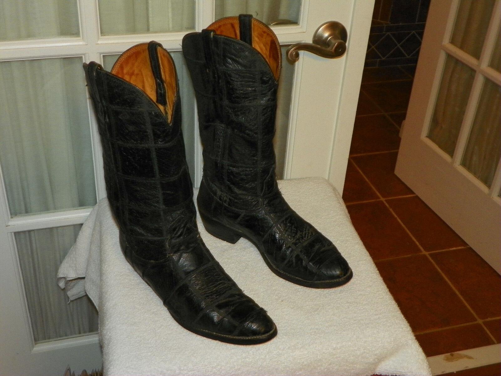 Nocona negro piel de avestruz botas de vaquero occidental de retazos Para hombres D Usa
