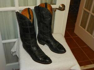 734075cd015 Nocona Black Ostrich Skin Patchwork Cowboy Western Boots Men's size ...