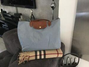 Longchamp Et Bleue Cuir Cabas Sac Toile q5ZFB