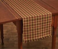 Indian Corn Table Runner 13x36 Red Black Mustard Brown Plaid Ribbed Cotton