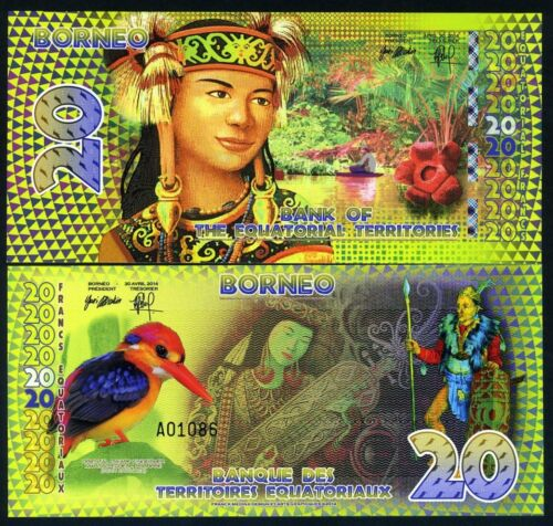 Borneo Indonesia 2014 Equatorial Territories 20 E Francs UNC POLYMER