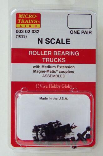 NIB Micro-Trains 00302032 Roller Bearing Trucks Medium Extension Couplers 1 Pr