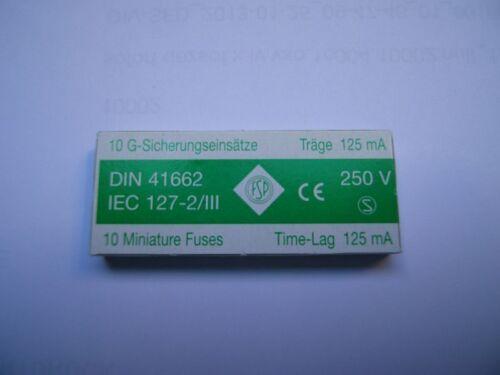 vidrio fusibles finamente fusibles 10 copias de seguridad 5 x 20 letárgico 125 ma
