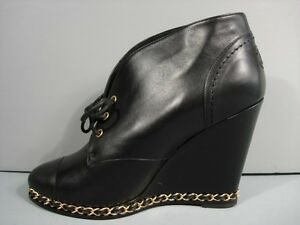 2cdcefaab0f CHANEL BLACK LEATHER LACE UP GOLD CHAIN WEDGE BOOTIE ANKLE BOOTS ...