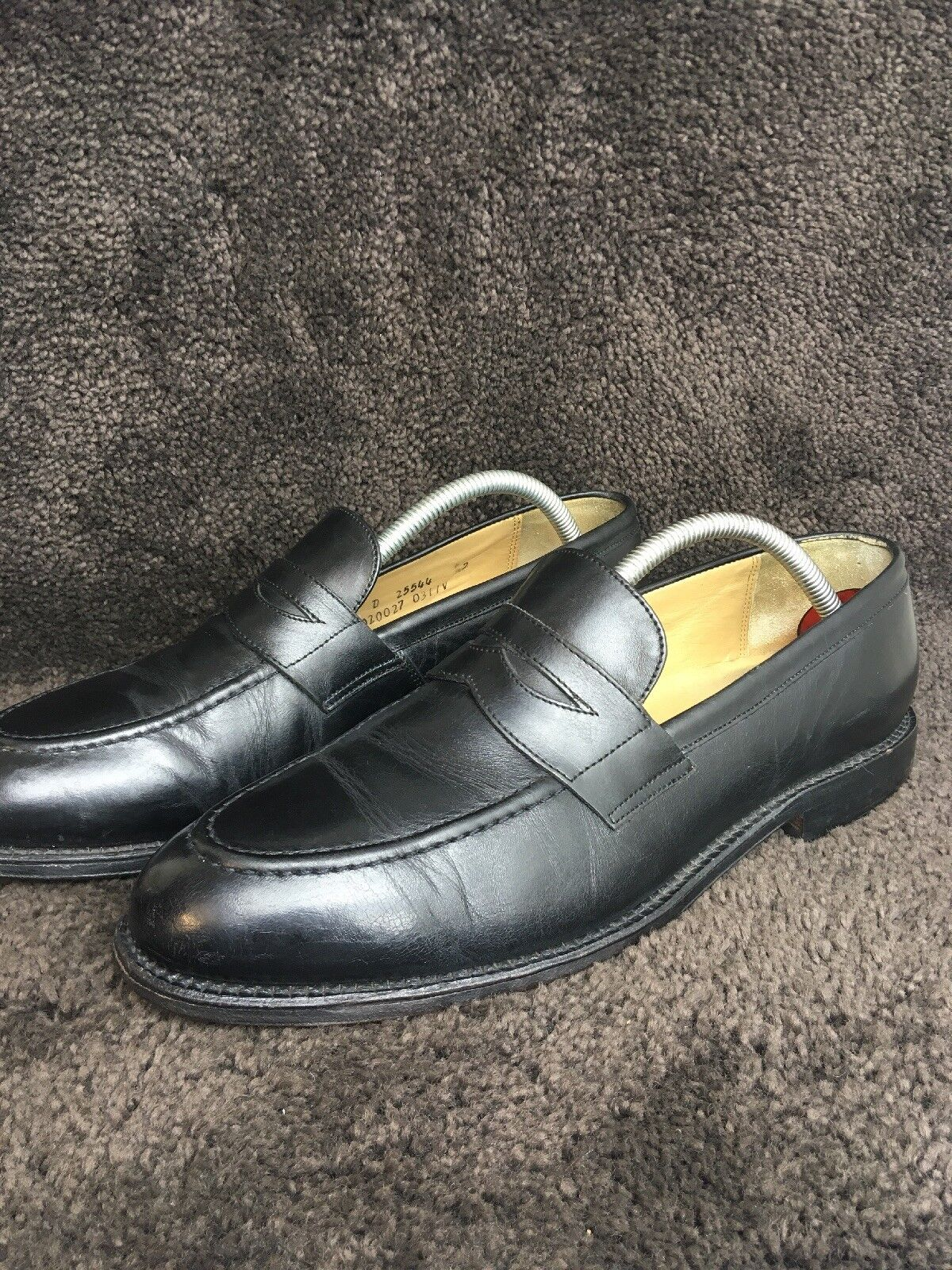 1c28ba4b80e Brooks Bredhers 346 Penny Loafers Black Black Black Leather Sz 8.5 D 227  daf45d