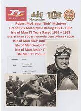 Bob McIntyre MOTO RACER 1953-1962 iomtt RARA Originale 2 X FOTO / CARTOLINE
