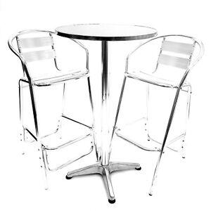 Silver Tolix Poseur Table /& Bar Stools Set Bar Furniture Cocktail Table,