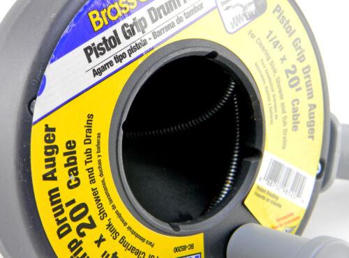 BrassCraft BC85200 1//4 in x 20 ft Pistol Grip Drum Drain Auger BC-85200