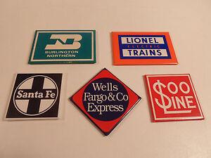 Railroad-Magnets-Lionel-Trains-Santa-Fe-Burlington-Soo-Refrigerator-Vintage-logo