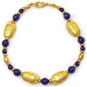 Details about Scarab and Lapis Bracelet - Museum Jewelry Reproduction
