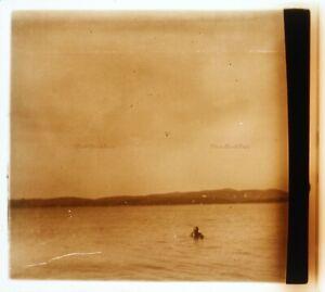Francia Mer Bagno Foto c1930 Placca Da Lente Stereo Vintage VR16L21n9
