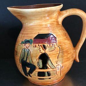 VTG Pennsbury Pottery Milk Jug Pitcher Amish Couple Barn Hand Painted Made USA
