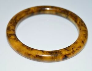 VTG-Butterscotch-Yellow-Brown-Marbled-End-of-Day-BAKELITE-Bangle-Bracelet-B
