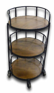 Round-3-Tier-Tea-Bar-Cart-Serving-Trolley-with-4-Wheels-Side-Table-Acacia-Wood