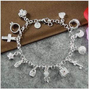 Hot-Neu-Silber-plattiert-Armband-Bettelarmband-Zirkonia-13-Anhaenger
