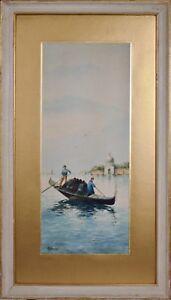 """Aquarelle ancienne, """"Gondoliers à Venise"""" vers 1900."""