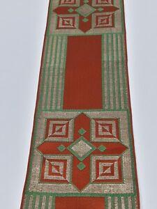 Vintage-Orphrey-Cruz-Diseno-Oro-Hilo-amp-Verde-Ladrillo-Banda-Vestment-8-9cm