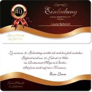 Das Bild Wird Geladen Elegante Geburtstagseinladung Karten Einladung  Geburtstag Edel 20 30