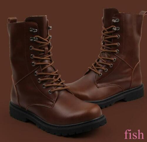 Casual Leather Military Casual Winter Mens Ankle Boots Side Zip Round Toe 6-12.5