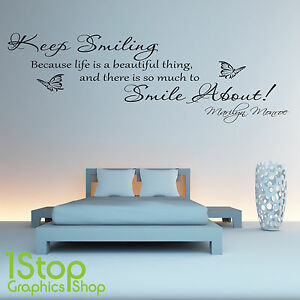 Image Is Loading Marilyn Monroe Keep Smiling Wall Sticker Quote Bedroom