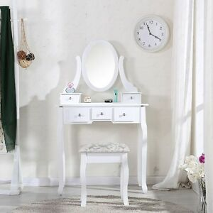 White-Dressing-Table-and-Chair-Makeup-Desk-with-Stool-5-Drawers-and-Oval-Mirror