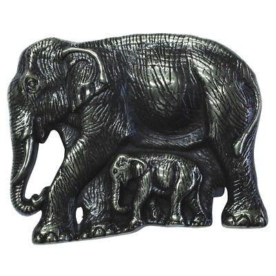 Energisch Gürtelschließe Elefant Mit Jungtier 4,0 Cm Schließen Kombin(altsilber)