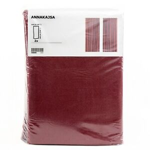 IKEA-ANNAKAJSA-Gardine-Gardinenpaar-braunrot-145x300cm-Vorhang-Gardinenschals