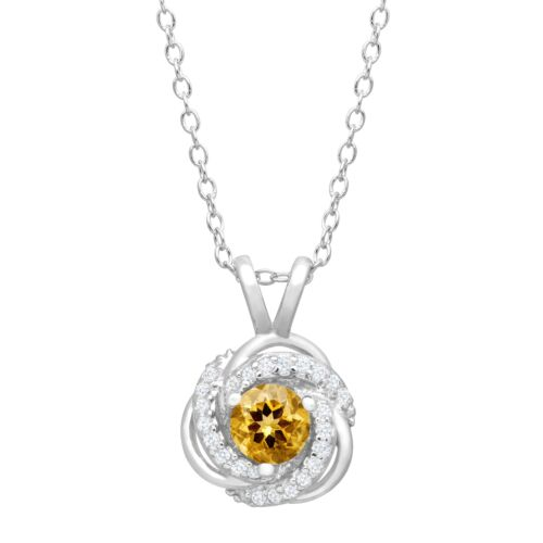 1//2 ct Natural Citrine /& Created White Sapphire Pendant in Sterling Silver