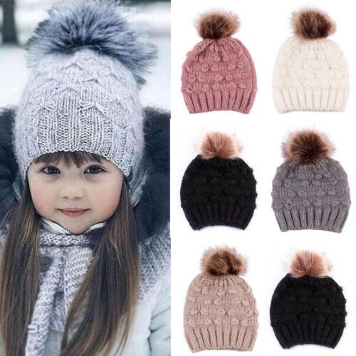 Toddler Kids Girl/&Boy Baby Infant Winter Solid Warm Crochet Knit Hat Beanie Cap