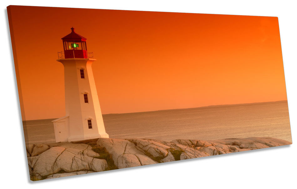 Sunset Lighthouse Seascape PANORAMIC CANVAS WALL ART Framed Print
