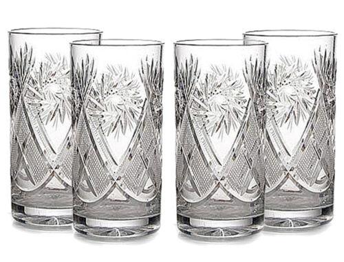 Set of 4 Russian Tea Glasses for Holder Podstakannik 11 oz Soviet Cut Crystal